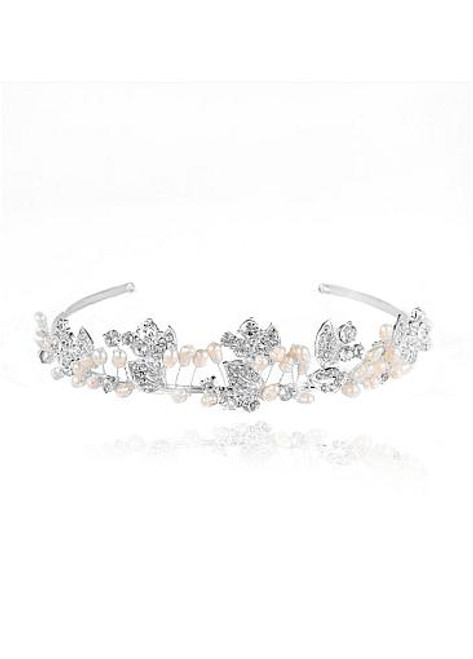 Trendy Dazzling Alloy Wedding Tiaras With Rhinestones & Pearls