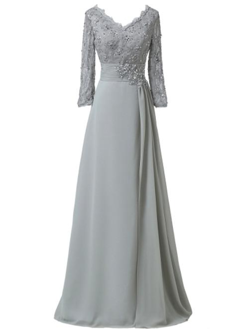 Cheap Elegant V-Neck Appliques A-Line Mother Of The Bride Dress