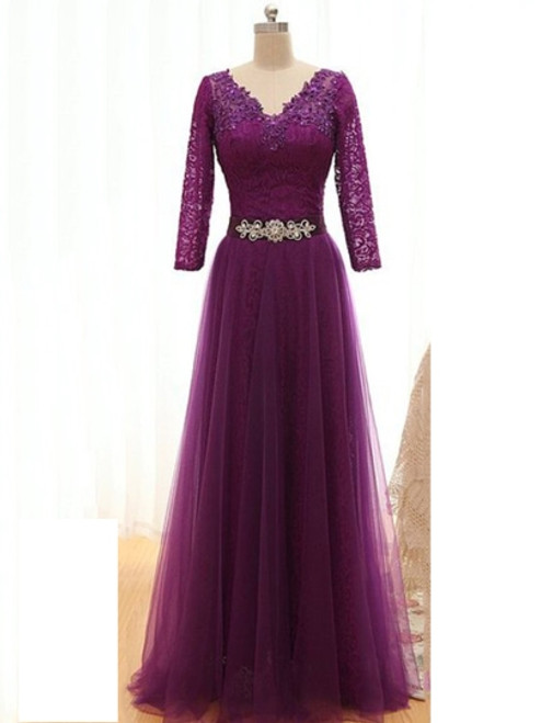 Fashionable Long Sleeves Floor-Length Mother of the Bride Dress