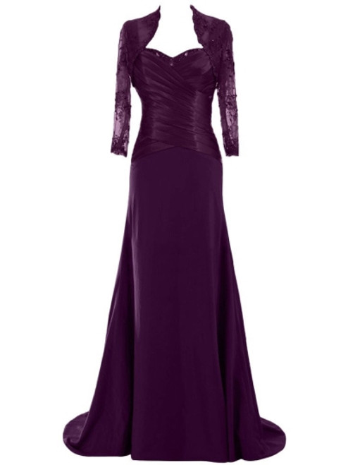 Princess Floor-Length Matte Chiffon Lace Mother of the Bride Dress with Jacket