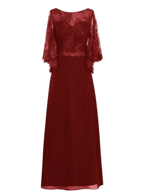 Best Floor-Length Scoop Neck Lace Chiffon Mother of the Bride Dress