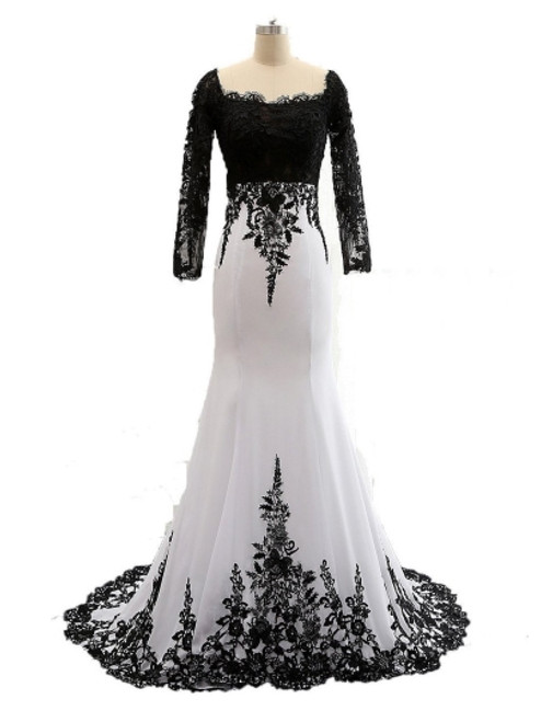 Fashion Long Sleeve Lace Chiffon Trumpet / Mermaid Mother of the Bride Dress
