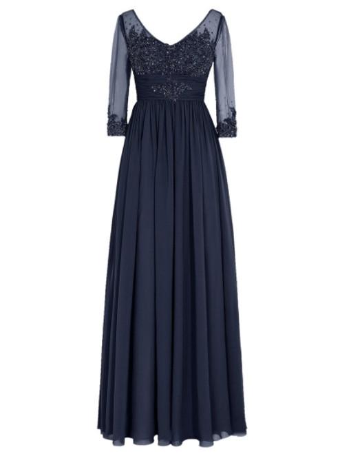 Fancy V-Neck Half Sleeves Appliques Long Mother of the Bride Dress