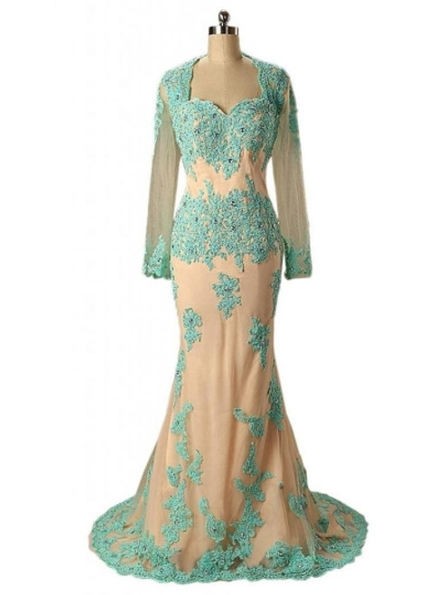 Fabulous Appliques Lace Long Sleeve Mermaid Mother of the Bride / Groom Dress