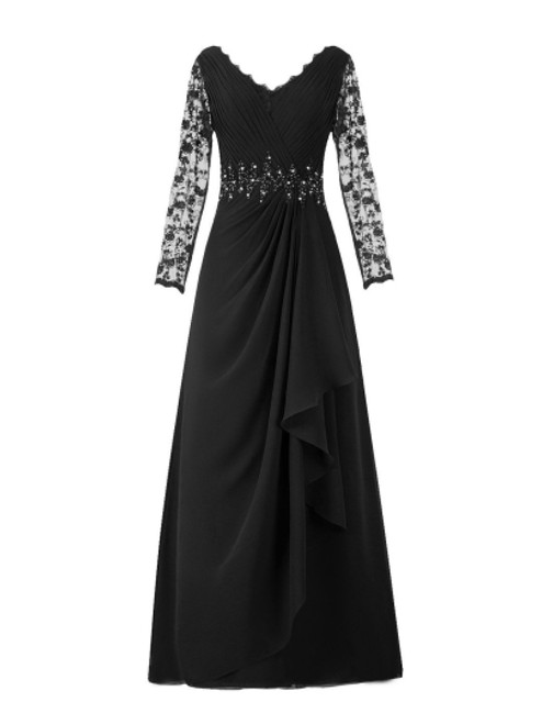 Dreamy  V-Neck Long Sleeve Lace Chiffon Mother of the Bride Dress