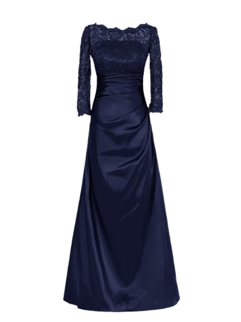 Delicate Bateau Neckline Floor-Length A-Line Lace Mother of the Bride Dress with Long Sleeve