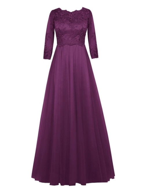 Casual Scoop Neck Half Sleeve Lace Tulle A-Line Mother of the Groom Dress