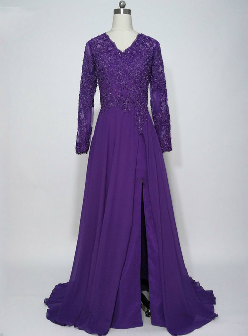 Purple Chiffon Long Sleeves Appliques Mother of the Bride Dresses
