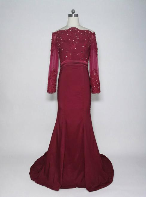 Burgundy  Long Off the Shoulder Long Sleeves Mother of The Bride Dress