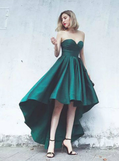 Fashionable High Low Green Satin Sweetheart Prom Dresses 2017