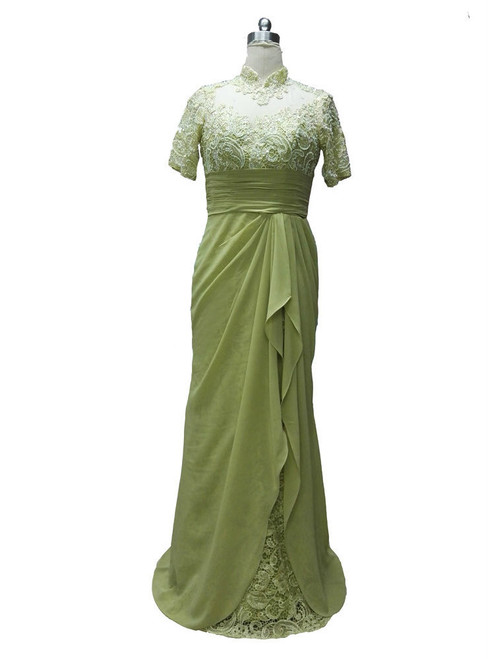Classic Long High Neck Beaded Short Sleeves Mother of the Bride Dresses Formal Dresses