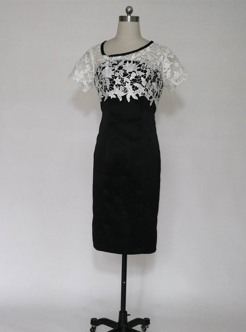 Latest White Lace And Black Knee length Mother of the Bride Dresses