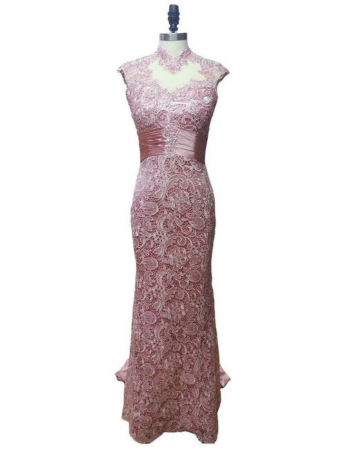 Romance 2017 High Neck Cap Sleeves Mother of the Bride Dresses Formal Evening Gown