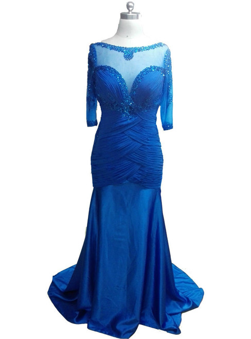 Gorgeous Long Evening Dresses 3/4 Sleeves Mother of the Bride Dresses Formal Dresses