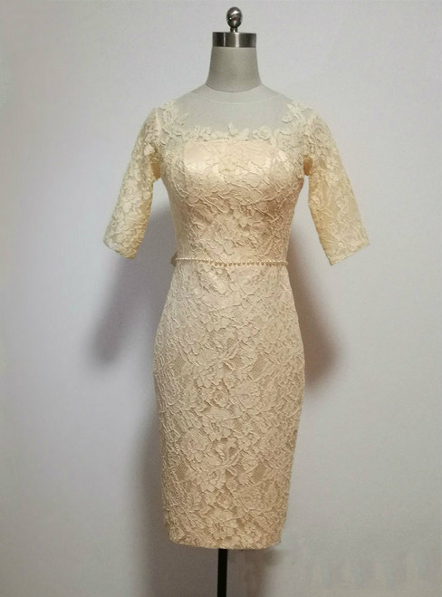 Lovely Champagne Lace Knee Length Mother of the Bride Dresses With Half Sleeves