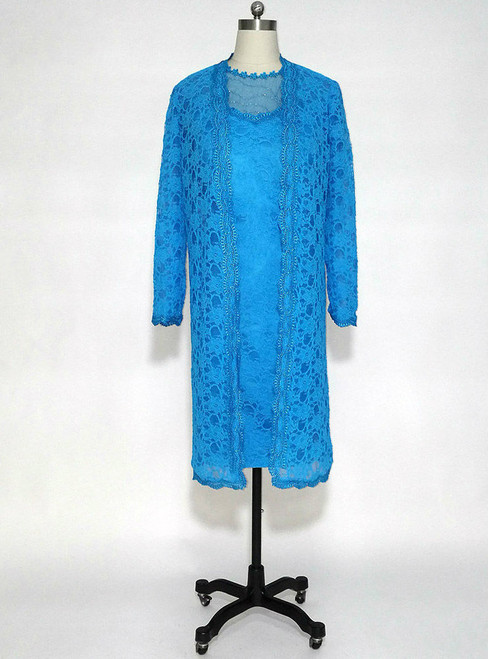 Adorable Blue Lace Knee Length Mother of the Bride Dresses Sheer with 3/4 Sleeves Long Jacket