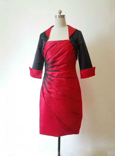 Stunning Red Black Knee Length Mother of the Bride Dresses With Jacket