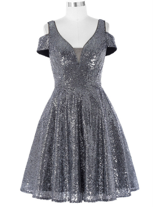 Romantic Cocktail Dresses Mother of the Bride Banquet Dress Dark Grey