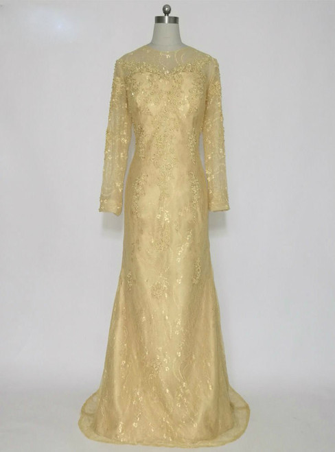 Fashion Gold Lace Long Sleeves Mother of the Bride Dresses Beaded Mermaid
