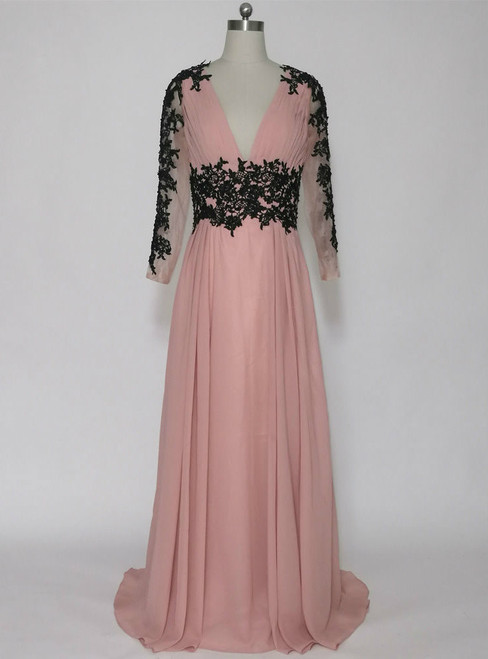 Attractive Long Evening Dresses Deep V-neck Long Sleeves Mother of the Bride Dresses