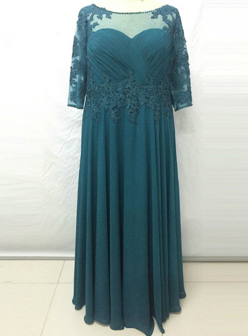 Romance  Long Turquoise Mother-of-the-bride-lace-dresses Chiffon Women Evening