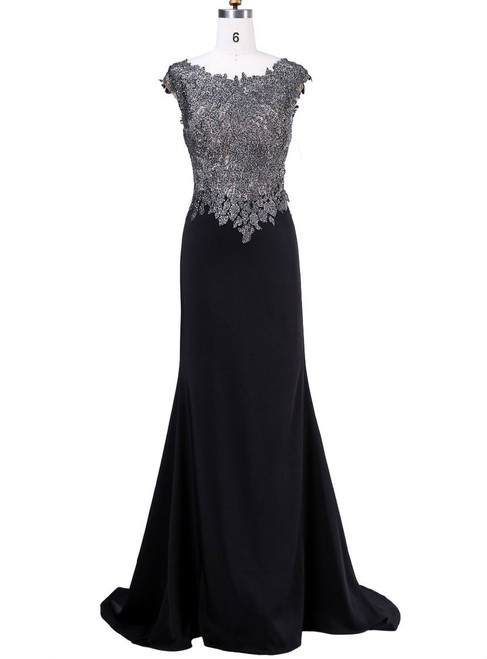 Advanced Mother of the bride Pant Suit Black With Scoop-Neck Cap Sleeve Beading