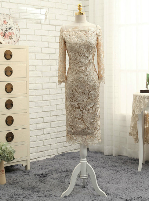Advanced Champagne Sheath Long Sleeve Knee Length Mother Of The Bride Dresses
