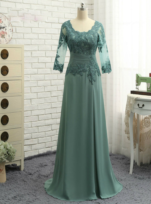 Chic Plus Size Green 2017 Mother Of The Bride Dresses A-line V-neck Chiffon Lace Wedding Party Dress