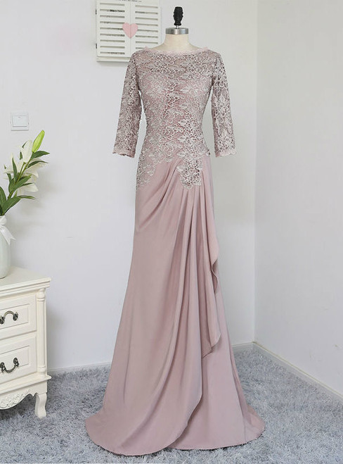 Elegant Plus Size Brown 2017 Mother Of The Bride Dresses A-line 3/4 Sleeves