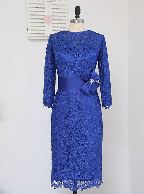 Brilliant  Lace 2017 Mother Of The Bride Dresses Sheath Knee Length Royal Blue