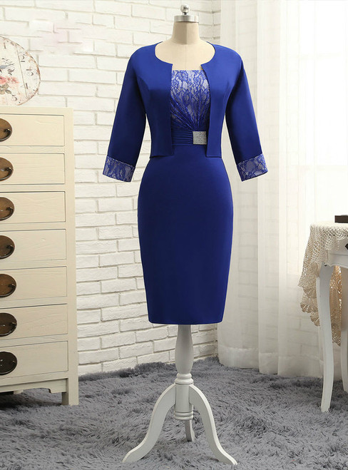 Simple Royal Blue 2017 Mother Of The Bride Dresses Sheath With Jacket