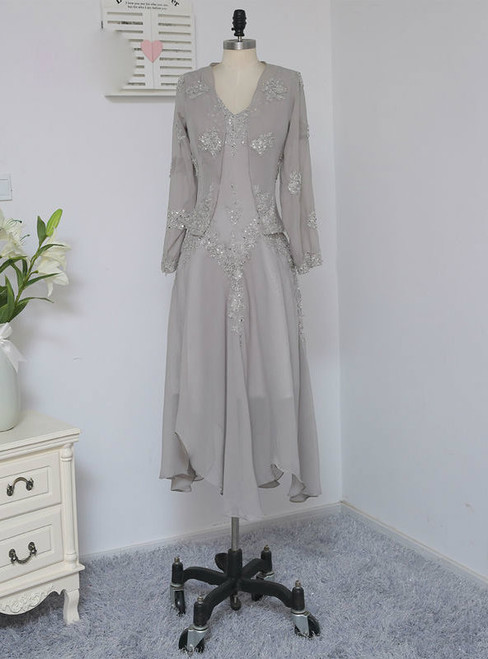 Elegance Silver 2017 Mother Of The Bride Dresses A-line With Jacket Chiffon