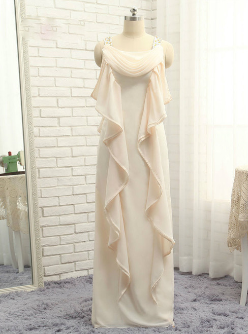 Advanced 2017 Mother Of The Bride Dresses Sheath Floor Length Chiffon Ruffles
