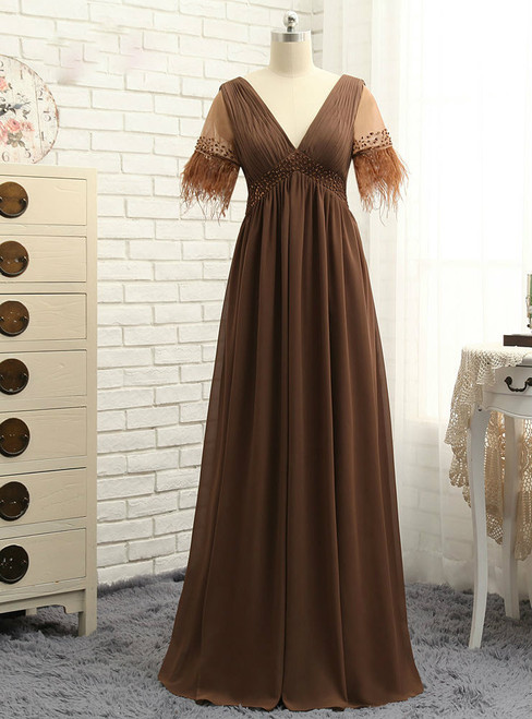 Cheap Brown 2017 Mother Of The Bride Dresses A-line V-neck Chiffon