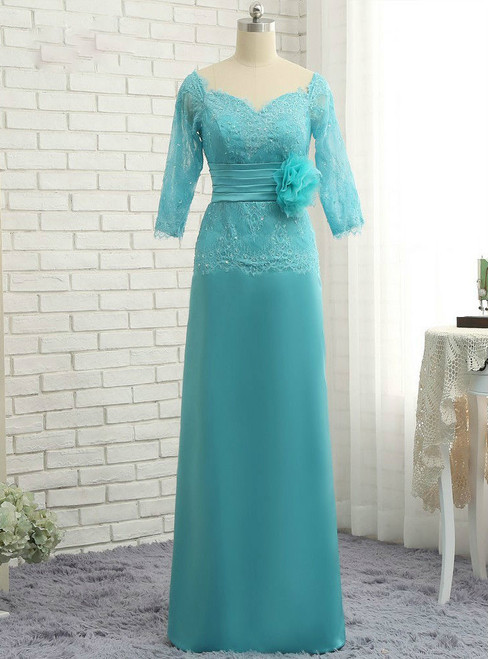 Chic  2017 Mother Of The Bride Dresses A-line 3/4 Sleeves Lace Long Evening Dresses