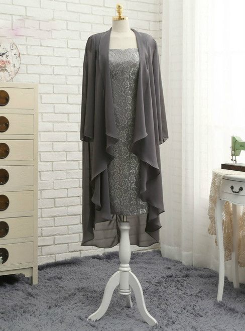 Brilliant Gray 2017 Mother Of The Bride Dresses Sheath Cap Sleeves