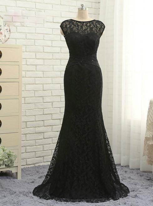 Elegant Black 2017 Mother Of The Bride Dresses Mermaid Cap Sleeves Lace