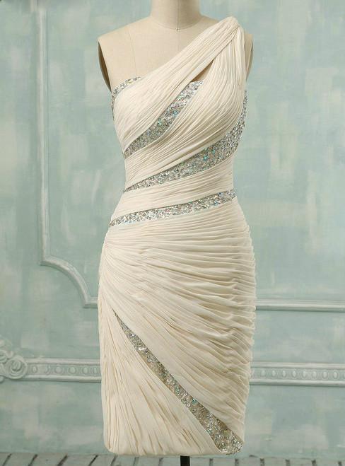 Dreamy Real Sample Elegant Mother of the Bride Dress One-Shoulder