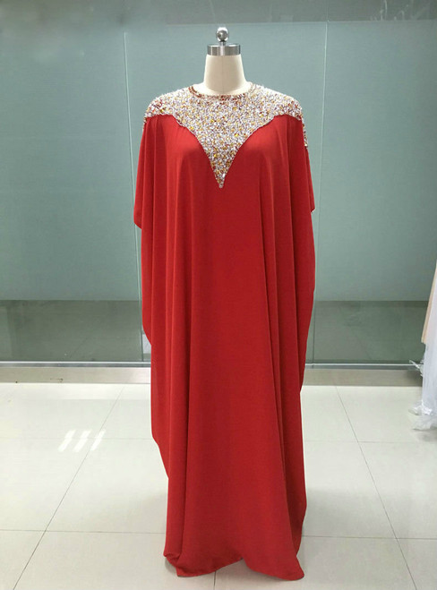 Advanced Red Chiffon Cap Sleeves Floor Length Beading Formal Mother Of The Bride Dresses