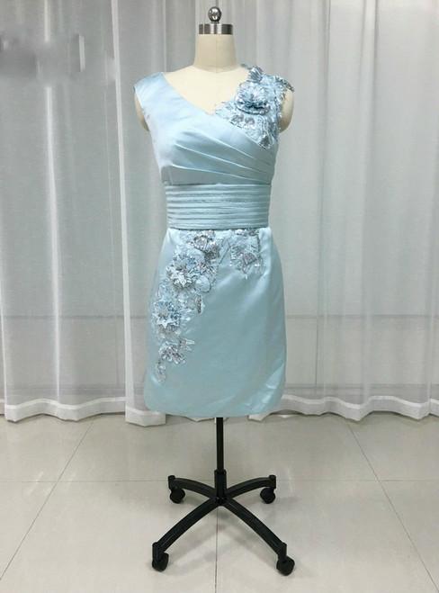 Stylish 2017 Sheath Satin Mother Dress Knee Length Pleat Flowers