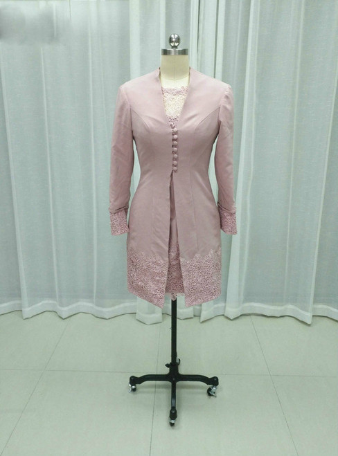 Romance Pink Lace Knee Length Two Pieces Mother Of The Bride Dresses With Jacket