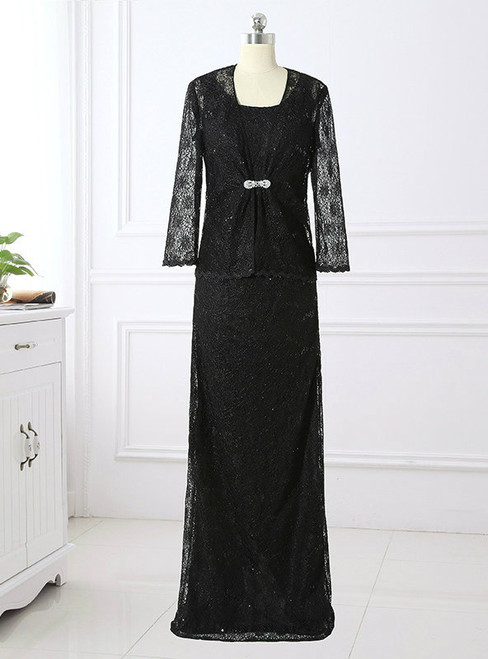 Fashion  2 Piece Vintage Black Lace Mother of the Bride Dresses with Jacket