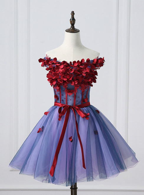 Elegance Off Shoulder Homecoming Dress Tulle  Applique Junior