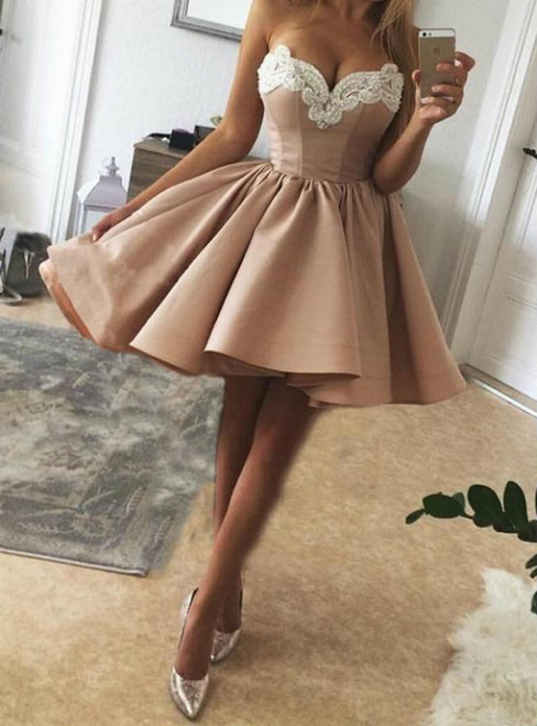 Pearls Embroidery Sweetheart Nude Pink Satin Homecoming Dresses 2018