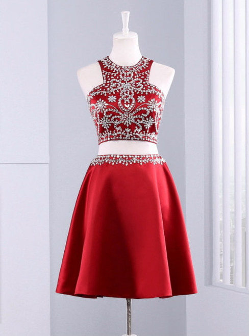 Cute Short 2 Piece Red Evening Dress Graduation Dresses 2017 Party Dresses