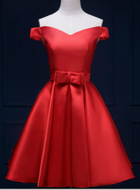 Popular Modern Red Off-the-Shoulder School Homecoming Dresses A-Line