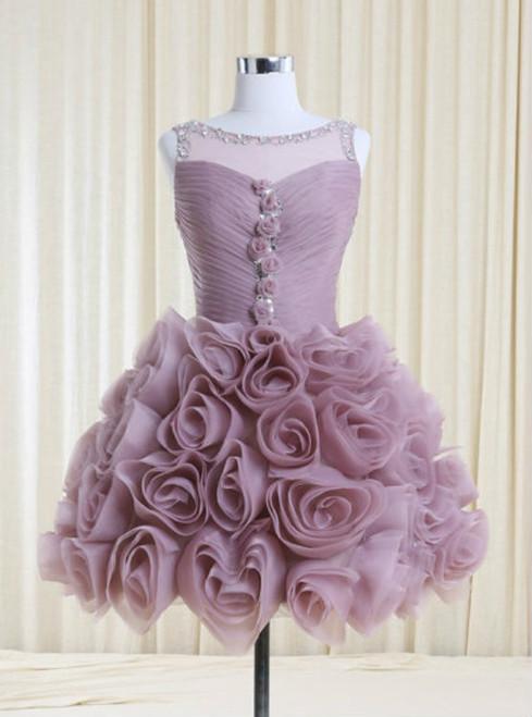 Best Lilac Bateau Neck Handmade Flowers Homecoming Dress