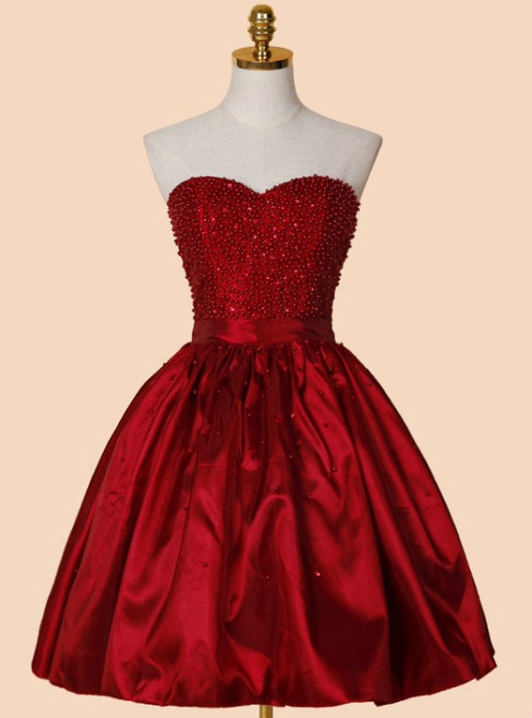 Marvelous A-line Sweetheart Above-knee Red Stretch Satin Homecoming Dress with Beading