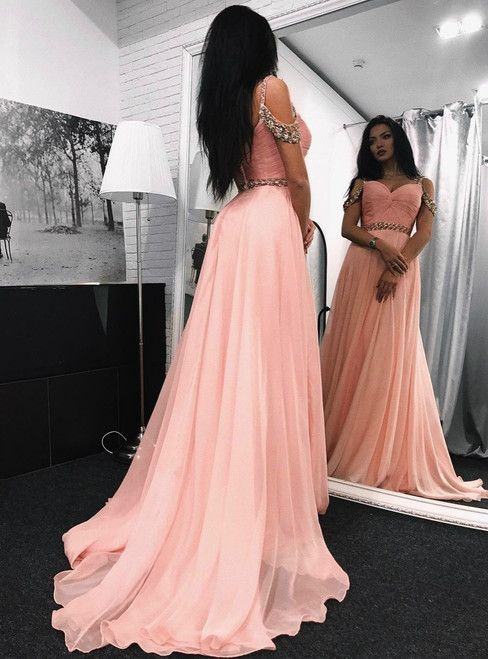 Cold-Shoulder Long Evening Dress with Beads,Chiffon Prom Gown