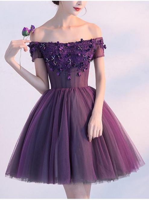 Cute A line Dark Purple Homecoming Dresses Off-shoulder Short Prom Dress